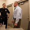 Joplin Police Chief Matt Stewart visits with Erik Theis, Jasper County court administrator, during the opening of the new  Jasper County Juvenile Services Center on Friday.<br /> Globe | Roger Nomer