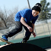 Fourteen-year-old Alex Short hones his skating skills on a sunny day at Schifferdecker Skate Park on Monday afternoon.<br /> Globe | Laurie Sisk