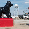 Alex Knezevic collects footage of the gorilla statue in Picher, Okla., on Tuesday.<br /> Globe | Roger Nomer