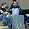 "From the left: Matthew Parrot (as Harry,) Shaun Conroy (as Stosh) and Jakob Hubbs (as Reed) rehearse their roles for the upcoming Joplin Little Theatre Production of ""Stalag 17,' on Tuesday night at JLT.<br /> Globe 