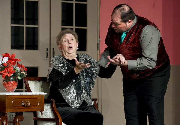 """From the left: Leecia Bloss (as Martha Gillette) and Doug Musick (as William Gillette) rehearse for their upcoming roles in the Stone's Throw Theatre production of """"The Game's Afoot,"""" which opens March 22.<br /> Globe 