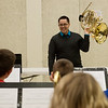 Juan Berrios, who plays with the Dallas Brass, talks to high school students during Brass Day at Missouri Southern on Friday. The event for area students included instruction and speakers.<br /> Globe | Roger Nomer