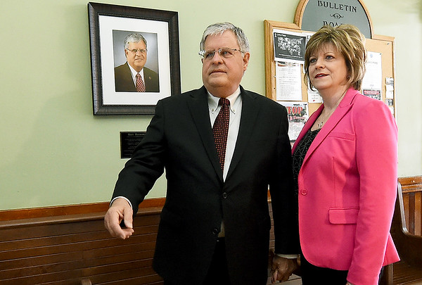 State Senator Ron Richard and his wife, Patty Richard stand beside a newly unveiled portrait of the longtime politician after a ceremony on Thursday morning at the Jasper County Courthouse in Carthage. Richards began his political career serving as a City of Joplin councilman and later became mayor. He is the only politician to have held the top leadership position in both houses of the Missouri state legislature.<br /> Globe | Laurie SIsk