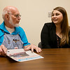Grant Bell talks with Grace Clouse, executive director of Joplin NALA, at Joplin NALA on Monday.<br /> Globe | Roger Nomer