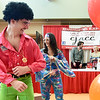 "Kraft insurance representatives Chase Kraft and his mother, Shelly Kraft boogie down to ""Disco Inferno"" during a flash mob at the Carl Junction Area Chamber of Commerce's Business Expo on Saturday at the Carl Junction Community Center. The theme for this year's expo was, fittingly, Disco Expo Inferno.<br /> Globe 