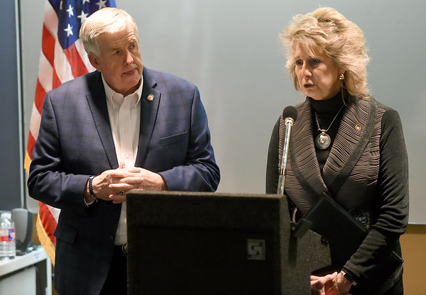 From the left: Missouri Gov. Mike Parson and Rep. Kathryn Swann, R-Cape Girardeau, answer questions about the Fast Track Worker Development program on Thursday at Liberty Utilities. Swann is a sponsor of the bill, which would provide tuition assistance to qualified persons.<br /> Globe   Laurie SIsk