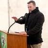 Jeremy Clouse, with Joplin Veterans Affairs, talks about the Joplin Bungalows project during Thursday's groundbreaking. <br /> Globe | Roger Nomer