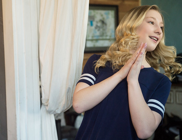Bailey Moore, 15, talks about her singing career during an interview at Maple Leaf Music Company in Carthage on March 22.<br /> Globe | Roger Nomer