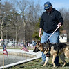 U.S. Air Force veteran and Compass Quest founder Ted Donaldson walks Mya, a 6-year-old therapy dog during the Rainbows for Vets fishing event on Saturday at the Neosho National Fish Hatchery. Veterans and their families were treated to a Saturday morning of fishing and camaraderie during the event.<br /> Globe | Laurie SIsk