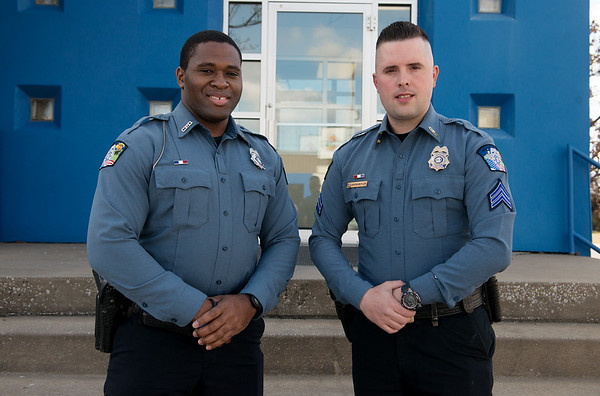 Carthage Patrolman Marcus Wicks, left, and Sgt. Justin Butler were recently recognized with the Lifesaving Award, one of the top honors available in the department.<br /> Globe | Roger Nomer
