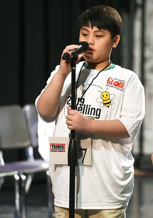 """Nevada Truman Elementary fifth grader Jethro Adriel A. Soldium correctly spells """"abysmal"""" to claim championship honors in the 42nd Annual Joplin Globe Spelling Bee on Monday at Thomas Jefferson Independent Day School.<br /> Globe 