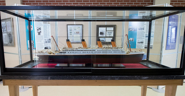 A large model of the Titanic sits as part of a new exhibit on the sinking of the ship at the Joplin Museum Complex. The exhibit runs for a limited time through April 20.<br /> Globe | Laurie SIsk
