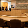 Visitors tour the courtroom of the new  Jasper County Juvenile Services Center on Friday.<br /> Globe | Roger Nomer