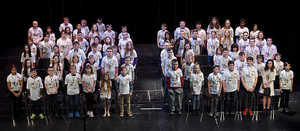 Contestants pose for a group photo before the start of the 42nd Annual Joplin Globe Spelling Bee on Monday at Thomas Jefferson Independent Day School.<br /> Globe | Laurie Sisk