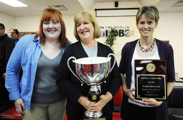 Globe/T. Rob Brown<br /> The Best of CNHI 2012 awards: (from left) Alexandra Nicolas and Editor Carol Stark with CNHI Website of the Year and CNHI Reporter of the Year Andra Stefanoni.