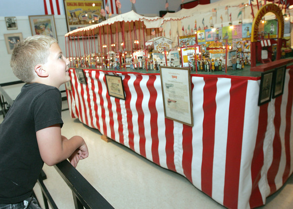 Globe/Roger Nomer<br /> Donovan Bell, 7, Arriba, Colo., checks out the circus exhibit at the Joplin Muesum Complex on Thursday morning.