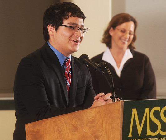Globe/Roger Nomer<br /> Ben Cortes, from St. Mary's Colgan High School, talks about his teacher Donna Maus during Monday's 2013 All-Area Academic Excellence Team banquet at Missouri Southern.