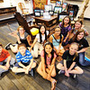 Globe/T. Rob Brown<br /> Local students from Local Color, located at the Gryphon Building, visited their artwork on display in the Post Memorial Art Reference Library in the Joplin Public Library Wednesday afternoon, May 1, 2013. Pictured, from left, are: (front row) Ben Koelkebeck, Raymond Nguyen, Jasmine Stone and Paige Neuenschwander, (back row) Kaila Winn, sisters Conalee Churchwell and Cydney Churchwell, Juliana Joseph, and sisters Bentley Allen and Lexus Allen.