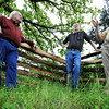 Globe/T. Rob Brown<br /> (from left) Steve Weldon and Larry Wood, both of Joplin, and Steve Cottrell of Carthage lean up against a Civil War era-style fence as they talk about future plans for the Rader Farm Thursday afternoon, May 16, 2013.