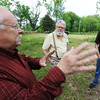 Globe/T. Rob Brown(from left) Steve Weldon of Joplin speaks with Steve Cottrell of Carthage and Larry Wood of Joplin about future plans for the Rader Farm Thursday afternoon, May 16, 2013.