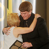 Globe/Roger Nomer<br /> Austin Boice, from Lamar High School, gets a hug from his teacher Barbara Nichols during Monday's 2013 All-Area Academic Excellence Team banquet at Missouri Southern.