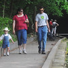 Globe/Roger Nomer<br /> Henry, 3, Amy and Ari Juhala, Nixa, walk along a trail at Roaring River State Park.