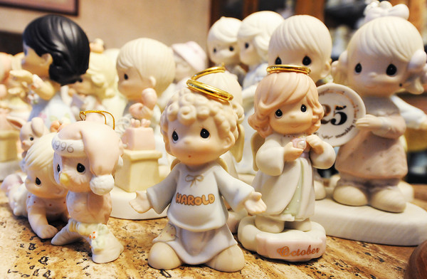 Globe/T. Rob Brown<br /> Part of a collection of nearly 1,000 Precious Moments figurines Wednesday morning, May 8, 2013, at a home in Granby.
