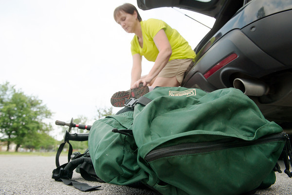 Globe/Roger Nomer<br /> Mary Frerer, Carl Junction, prepares for a hike along the Frisco Trail on Wednesday.