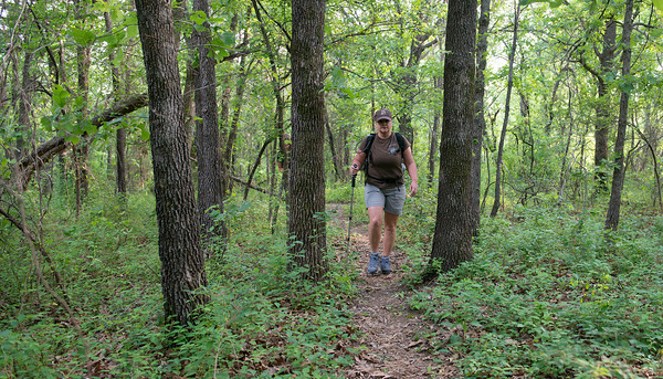 Globe/Roger Nomer<br /> On Wednesday evening, Stacey Phillips, Neosho, hikes along the Frisco Trail in preparation for her trip to the Grand Canyon.