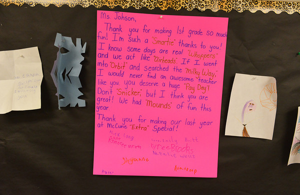 Globe/Roger Nomer<br /> Students left a goodbye message for their teacher Missy Johnson in her classroom on the last day of school at McCune Elementary.
