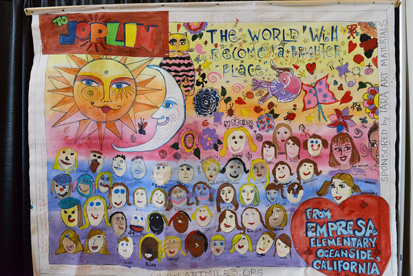 Globe/Roger Nomer<br /> This banner from students in Oceanside, Calif., is one of several messages of hope on display at Joplin City Hall for the anniversary of the 2011 tornado.