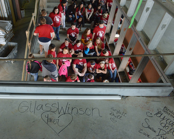 Globe/Roger Nomer<br /> The Joplin High senior class got a chance to leave their mark on the new high school on Friday morning.