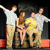 "From the left: Alex Chesney, Emma Claybrook, Trey Burkhart and Tanner Munson rehearse their roles in ""The Andrews Brothers,"" which opens May 28b at Joplin Little Theatre.<br /> Globe 