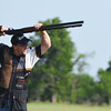Globe/Roger Nomer<br /> Pro Shooter Dave Miller attempts a trick shot while shooting clay targets during an exhibition at Claythorne Lodge on Monday.
