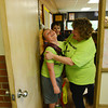 Globe/Roger Nomer<br /> Derick Burger shares a last laugh with his fourth-grade teacher Joyce Fox before leaving McCune Elementary on Tuesday.