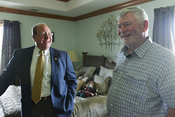 Globe/Roger Nomer<br /> Hugh Shields, left, gives Joplin Mayor Mike Siebert a tour of his green home on Monday.