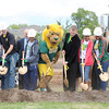 Roary the Lion joins Missouri Southern State University students in turning over the first few shovels of dirt on Thursday for a new $14 million student housing project at MSSU.<br /> Globe | Laurie Sisk