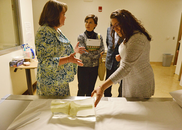 Globe/Roger Nomer<br /> (from left(Tia Strait, dean of the School of Health Sciences, Public Safety and Technology at Missouri Southern, gives Alicia Kerber, head consul of Mexico, Kansas City, and Lourdes Orestano, consul for community affairs, a tour of a radiology lab on campus Wednesday.