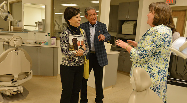 Globe/Roger Nomer<br /> Alicia Kerber, head consul of Mexico, Kansas City, left, and Pedro Pantoja, international consultant, Joplin, tour a dental facility at the Missouri Southern Health Sciences on Wednesday.