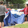 Tanner McMurtrey and Lindsay Murray put lane ropes in storage  ast week in preparation for the opening of Schifferdecker Pool.<br /> Globe | Laurie Sisk