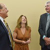 Globe/Roger Nomer<br /> (from left) Joplin Mayor Mike Seibert, Valarie Ikerd and Greensburg Mayor Bob Dixson talk about the green construction of the Advanced Orthotics and Prosthetics building during a tour on Monday. Ikerd owns the building with her husband Frank.