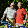 Globe/Roger Nomer<br /> Henry Robertson, left, and Dale Spence, Halifax, Nova Scotia, reconnected as Spence traveled along Route 66 by bicycle.