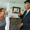 Globe/Roger Nomer<br /> Ramona Shields talks with Greensburg Mayor Bob Dixson about her family's rebuilt home that features many green building elements.