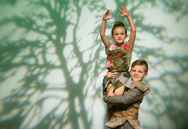 Globe/Roger Nomer<br /> Tailour Atchley, 7, and Levi England, 9, rehearse a dance with the Mini Company during a rehearsal on Wednesday for the Karen's Dance Studio 45th Anniversary Recital at Missouri Southern.