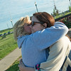 Globe/Roger Nomer<br /> Teresa Worley, left, hugs Arielle Graddy at Cunningham Park on Saturday.