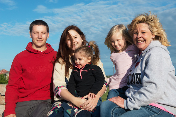 Globe/Roger Nomer<br /> (from left) Bryan, Arielle, Lola, 2, Lily, 4, Graddy and Teresa Worley are connected by the 2011 tornado.