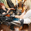Pedicurist Lisa Gonzales works with client Wanda Nelson at Cut Loose Salon<br /> Globe | Laurie Sisk