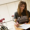 Globe/Roger Nomer<br /> Carmen Creswell studies at College Heights Christian School on Monday morning.