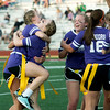 Globe/Roger Nomer<br /> Emily Huddleston celebrates a victory with Annie Strickling and the rest of her team during a Powderpuff Football game on Friday, May 6.