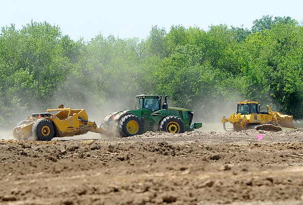 Crews from McPherson Construction resume work after a groundbreaking ceremony for the Kansas Crossing Casino and Hotel on Thursday near Pittsburg.<br /> Globe | Laurie Sisk